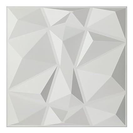 Art3d Textures 3D Wall Panels White Diamond Design Pack Of 12 Tiles 32 Sq Ft