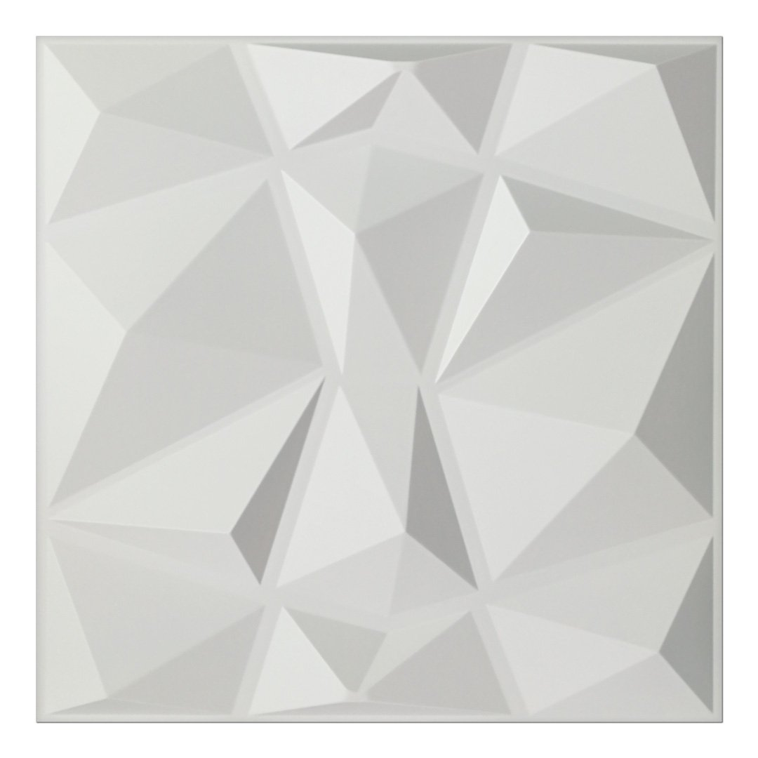 Art3d Textures 3D Wall Panels White Diamond Design Pack of 12 Tiles 32 Sq Ft (PVC) by Art3d