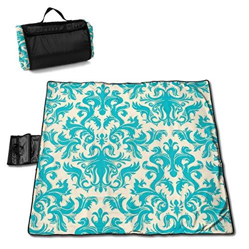 "TARDIGA Turquoise Damask Wallpaper Portable Large Picnic Blanket 57""x59"" Outdoor Waterproof Sand Free Multipurpose Beach/Camping/Picnic Blanket Mat Tote Bag for Family Camping"