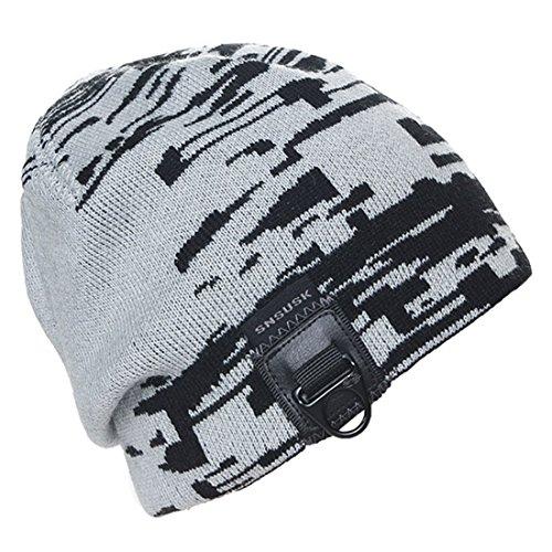 King Star Mens Winter Hats Knitted Beanie Caps Soft Warm Ski Skull Hat Gray (Skull Snowboard Ski Beanie Cap)