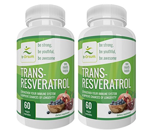 Trans Resveratrol with Vitamin C, Quercetin, Red Wine Extract, Pterostilbene, Acai Grape Seed & Green Tea. Anti-aging Immune Booster & Heart Health Natural Weight Loss Antioxidants, Trans Resveratrol by b-Orsum