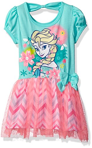 Disney Toddler Girls' Frozen Dress with Tulle Overlay, Blue, (Frozen Dresses For Toddlers)