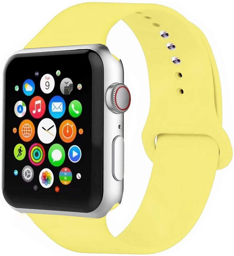 MOOLLY for Watch Band 38mm 40mm 42mm 44mm, Soft Silicone Watch Strap Replacement Sport Band Compatible with Watch Band Series 5/4/3/2/1 Sport & Edition (Pollen Yellow, 40mm 38mm S/M)