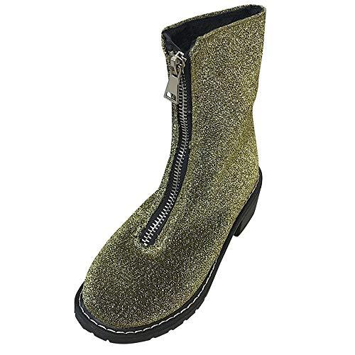 - Caopixx Women Boots Winter Square Heel Shoes Sequined Zipper Round Toe Shoes Short Boots