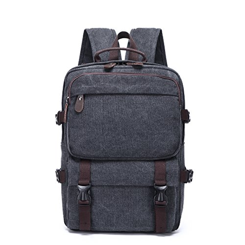 Price comparison product image Dishangsha Canvas Vintage Backpack Leather Casual Bookbag Unisex Causal Large Vintage Rucksack (black)
