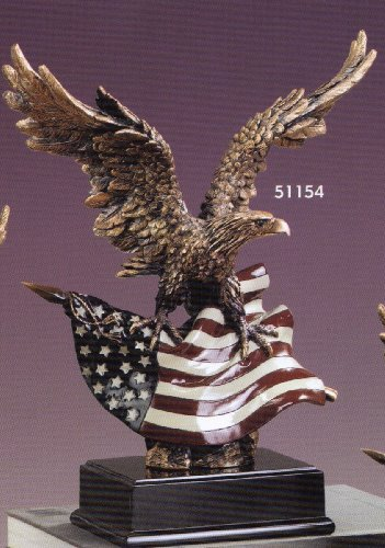 Large Eagle with American Flag Resin Sculpture - 14.5