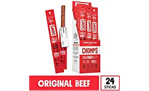 CHOMPS Grass Fed Original Beef Jerky Snack Sticks, Keto, Paleo, Whole30 Approved, Non-GMO, Gluten Free, Sugar Free, High Protein, 90 Calorie Snacks, 1.15 Oz Meat Stick, Pack Of 24 - Packaging May Vary
