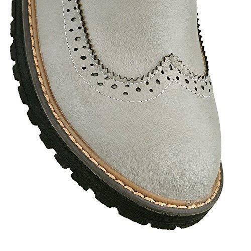 AgooLar Women's PU Low-Top Solid Buckle Low-Heels Boots Gray PL0kSu