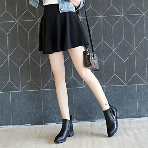 Nero stivali autunno inverno cuoio Stivali feiXIANG artificiale Donna Donna scarpe tacchi stivaletti bassi moda inverno plastica ZwUAZTgqfx