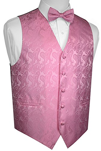 Brand Q Men's Formal, Wedding, Prom, Tuxedo Vest & Bow-Tie Set-Rose Petal Paisley-5XL (Rose Tuxedo Vest)