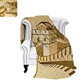 Summer Quilt Comforter Great Wall of China Ancient Castle at Sunset Silk Road Barrier Old Cultural Heritage Print Digital Printing Blanket 90'x70' Cream