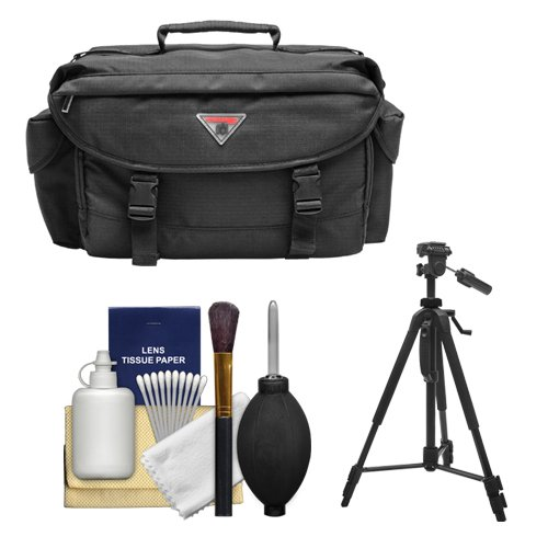 Precision Design 2000 Deluxe SLR Camera Bag/Case + Tripod for Canon EOS 70D, 6D, 5D Mark III, Rebel T3, T5i, SL1, Nikon D3200, D5200, D5300, D7100, D600, D800, Sony Alpha A65, A77, A99