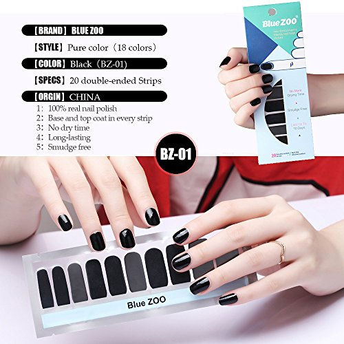 20 Tips/Sheet Pure Color Series Nail Polish Stickers Art Decorations Manicure DIY Nail Polish Strips Wraps for Wedding,Party,Shopping,Travelling 18 Colors (BZ-01)