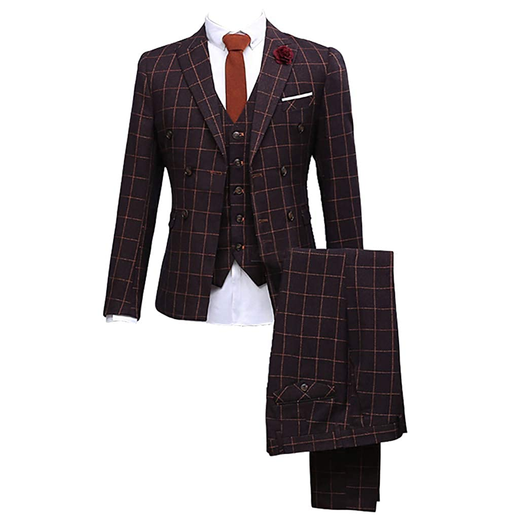 Mens 3 Pieces Double Breasted Maroon with Brown Check Tailored Tuxedo Premium Classic Slim Fit Suit