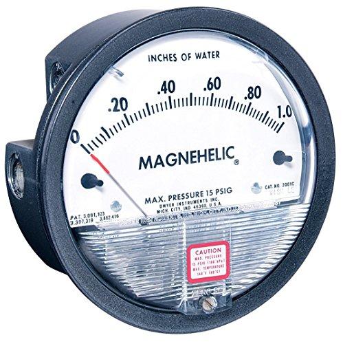 Dwyer Differential Pressure Gauge - Dwyer Magnehelic Series 2000 Differential Pressure Gauge, Range 0.25-0-0.25