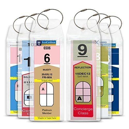 Cruise Tag Caddy 8 Pc Slim Zip Top Luggage Tag Holders For Royal Caribbean   Celebrity Cruise Ships