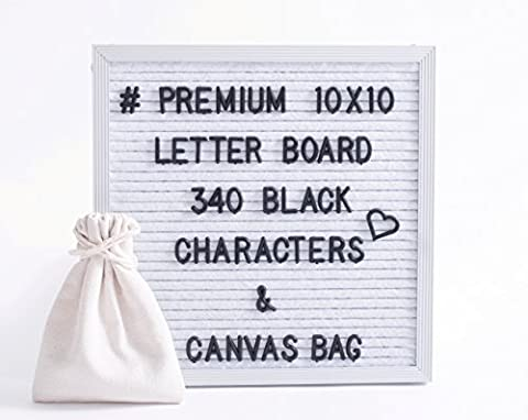 White Felt Letter Board 10x10 Inches. Changeable Letter Board Include 340 Black Plastic Letters & Aluminum - Message Board Letter