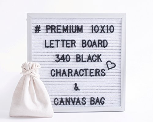White Felt Letter Board 10x10 Inches. Changeable Letter Board Include 340 Black Plastic Letters & Aluminum Frame