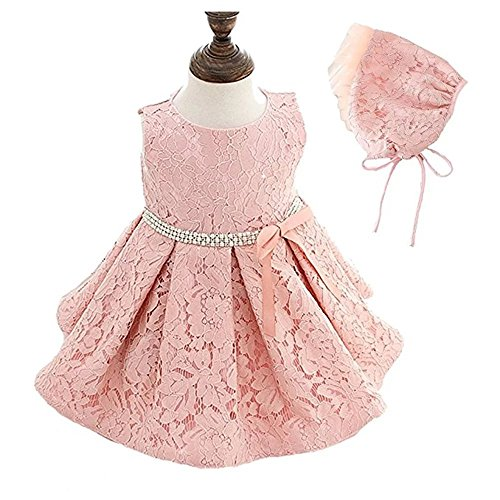 New York Baby Gown (ZAH Baby Girl Dress Christening Baptism Gowns Sequined Formal Dress(Pink,12-18M))
