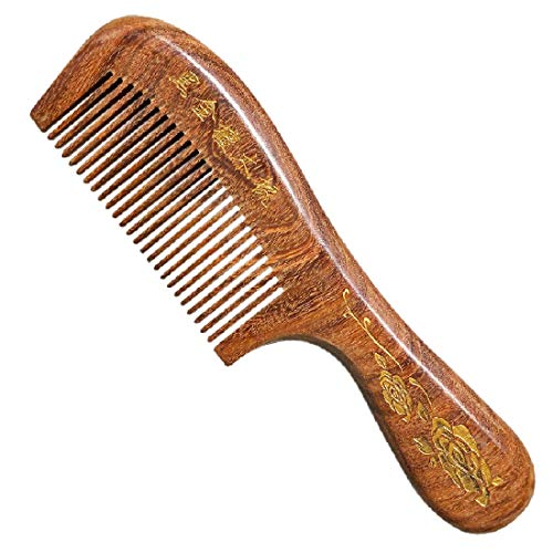 Natural Wood Comb,Handmade Wooden Comb and Anti-Static Green Sandalwood Wooden Comb with 100% Real Wood Comb for Women Men with Head Massage Comb for Family Use (1 pack)(Dense teeth)