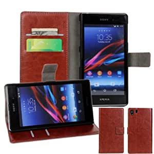 Easygoby Brown/Chic Crazy Horse Grain Luxury Leather Folio Wallet Stand Case With Card Slots & Money Pocket for Sony Xperia Z Ultra L39H