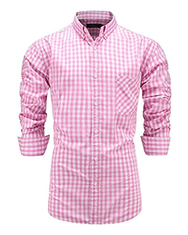 Emiqude Men's Casual Long Sleeve Plaid Button Down Dress Shirt Large Pink - Button Down Plaid Dress Shirt