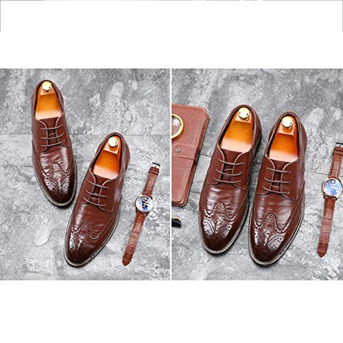 Aguzza up Brown Lace Da Oxford Punta Scarpe Uniformi Sposa Brogue Uomo Partito D'epoca Scarpe Di Business Della Antisdrucciolevoli Formale Derby x0Sxpqf