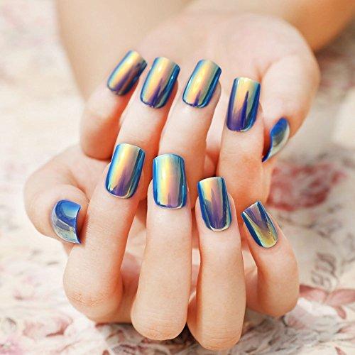 YUNAI Nail Art Symphony Shell Color Blue Metal Shine Fake Fingernails Artificial False Nail Tips for Women 24pcs/set ()