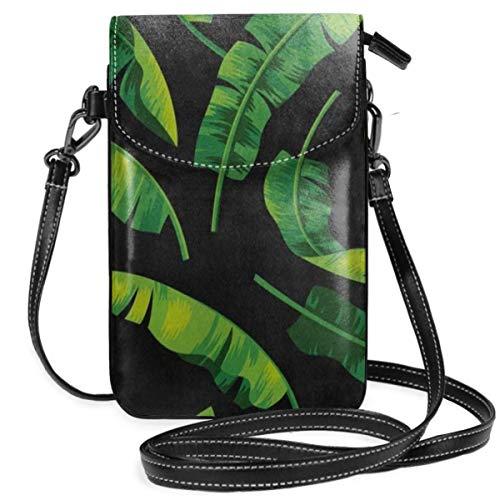 Crossbody Bag Green Jungle Banana Leaf Messenger Bag Lightweight PU Leather Cell Phone Purses With Credit Card - Green Bags Jungle Messenger