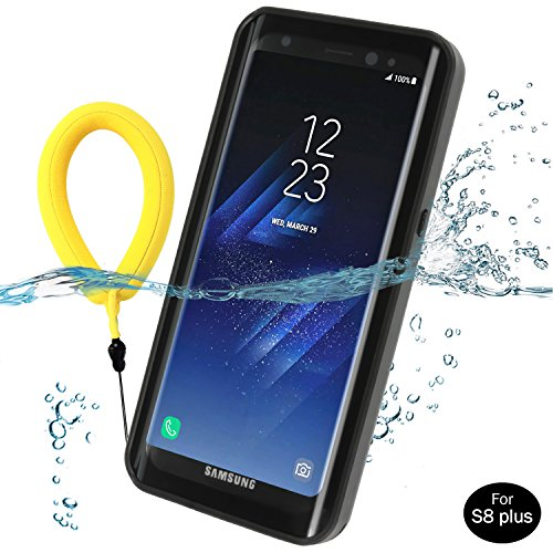 Temdan Galaxy S8/S8 Plus Waterproof Case Rugged Built in Screen Protector with Kickstand and Floating Strap Shockrproof Waterproof Case for Samsung S8 /S8 plus(5.8inch) (Black) (S8 plus 6.2 inch)