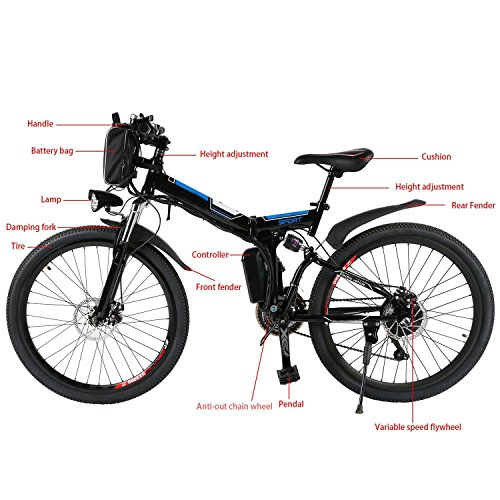 "Keland 36V 250W 21 Speed Folding Electric Mountain Bike, Electric Bicycle with Removable Lithium Ion Battery, Battery Charger, LED light and horn, 26"" (US Stock)"