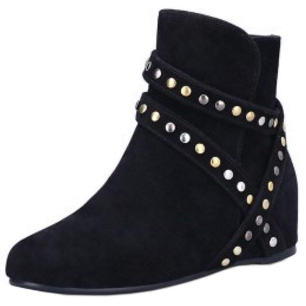 Zanpa Femmes Zipper Western Stivali Con Rivetti Black