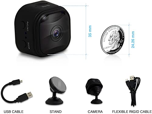 WiFi Mini Spy Camera 2.4GHz Hidden Camera with App, with 120 Wide-Angle Lens, Video Camera, Covert Nanny Cam, Motion Detection, Night Vision, Security Surveillance Cameras Upgraded