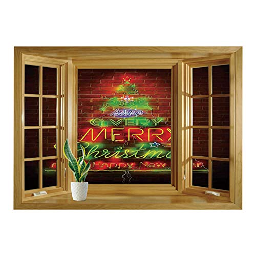 - SCOCICI Window Mural Wall Sticker/Christmas,Neon Lights Sign Have a Merry Xmas and Happy New Year Phrase Against The Wall,Burgundy Green/Wall Sticker Mural