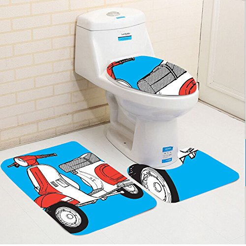 Keshia Dwete three-piece toilet seat pad customFunky Cute Scooter Motorcycle Retro Vintage Vespa Soho Wheels Rome Graphic Print Blue Red White (Soho Multi Print)