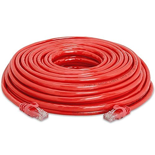 Cat6 / Cat5e / Cat5 Standards Networking RJ45 Ethernet Patch Cable Xbox \ PC \ Modem \ PS4 \ Router (Red, 100ft) ()