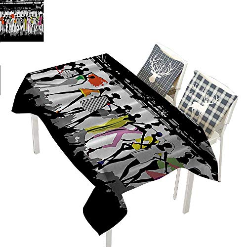 Holders Candle Circus Baby - Funny Feminine Tassel Tablecloth Modern Colorful Fashion Show Bodycon Runway Stage Lights Concert Chic Top Models FantasyBlack White Coral Purple Green rectangular tablecloth W52