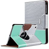iPad Mini Case,iPad Mini 2 Case,iPad Mini 3 Case,ULAK 360 Degree Rotating Synthetic Leather Case Cover for Apple iPad Mini 1/2/3 with Auto Sleep/Wake Function (Minimal Mint Stripes)