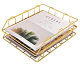 Superbpag Stackable Desk File Letter Tray Organizer, Set of 2, Gold