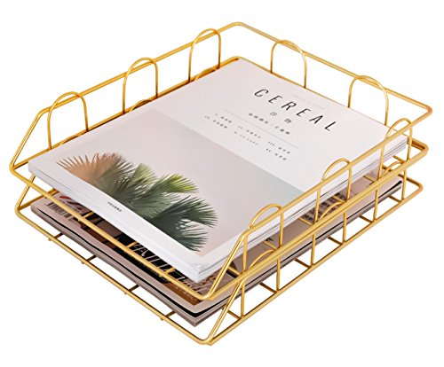 (Superbpag Stackable Desktop Letter Tray Organizer, Set of 2, Copper (Gold))