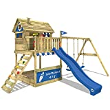 WICKEY Playhouse on Stilts Smart Seaside Climbing Frame Playground with Large Sand Pit, Wooden roof, Veranda, Double Swing and Slide