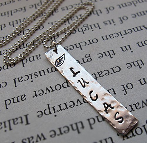 161c99df742ec Amazon.com: Name Necklace for Men - Hand Stamped Necklace ...