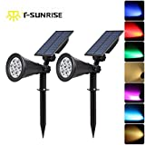 LED Solar Spotlights,T-SUNRISE 7 LED Color-changing Garden Solar Lights,Security Lighting, Path Lights,Landscape Light for Patio,Lawn,Tree,Yard, Garden (2Pack)
