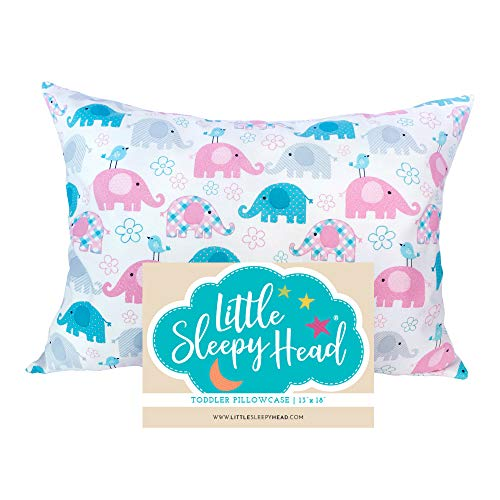 Little Sleepy Head Toddler Pillowcase - Elephants, 13x18 Inch from Little Sleepy Head
