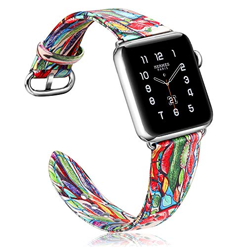 Fintie Band for Apple Watch 40mm 38mm, Premium PU Leather Patterned Replacement Wrist Strap for Apple Watch Series 4 (40mm) / Series 3 2 1 (38mm) All Models Men & Women - Love Tree