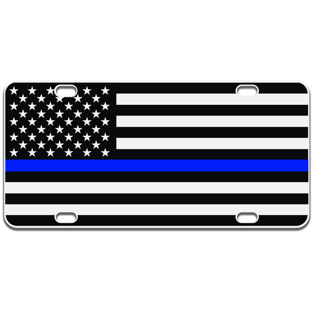 JASS GRAPHIX American Flag License Plate Matte Black on 1/8'' White Aluminum Composite Heavy Duty Tactical Patriot USA Car Tag (Black on White w Blue) by JASS GRAPHIX (Image #1)