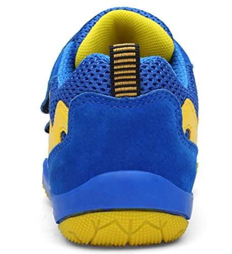 DADAWEN Kid's Breathable Outdoor Hiking Sneakers Strap Athletic Running Shoes Blue/Yellow US Size 13 M Little Kid by DADAWEN (Image #1)