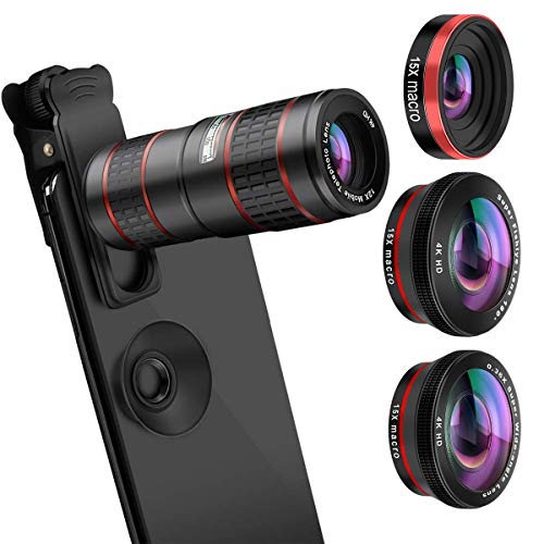 (AFAITH Upgraded Phone Camera Lens, 5 in 1 Phone Lens Kit -12X Zoom Telephoto Lens + 0.36X Wide Angle+ 180° Fisheye Lens+ Dual 15X Macro Lens for iPhone X/XS/8/8P/7/6, Samsung S10/S10+/S9/S8/S6)