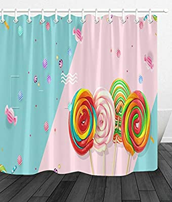 Colorful Sweet Candy Waterproof Fabric Shower Curtain Set Bathroom Accessories