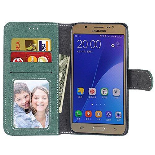 SRY Cartera de cuero de la PU superior con ranura para tarjeta / Stand Folio cubierta de la caja protectora para Samsung Galaxy J7 2016 J710 ( Color : Beige ) Green